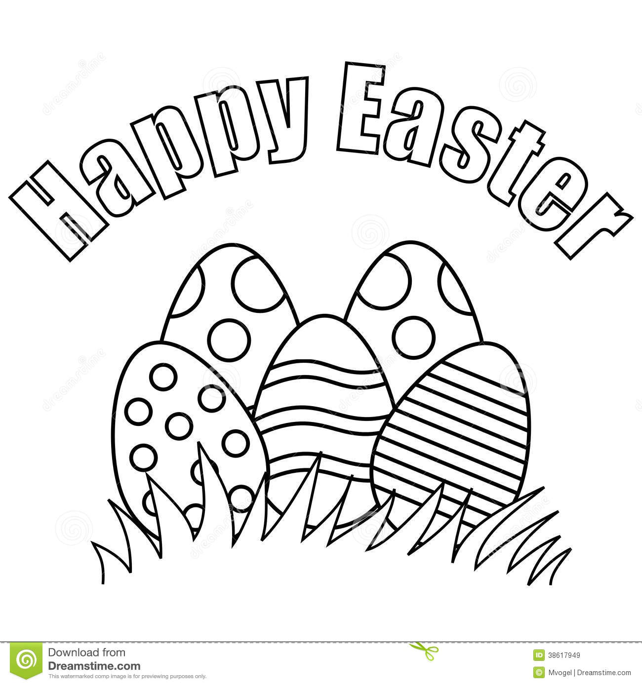 Happy easter clipart black and white