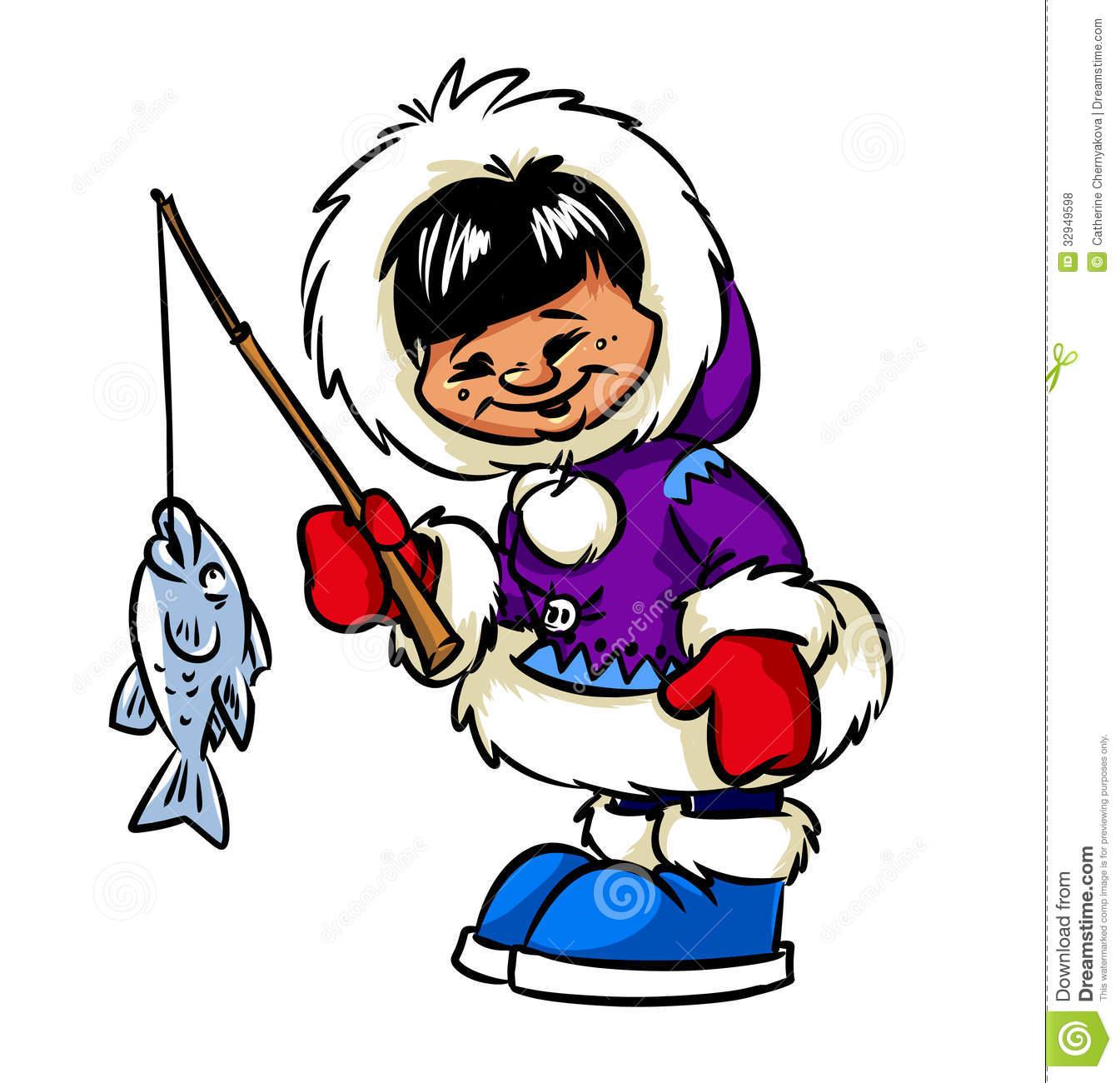 Happy Eskimo Boy And Fish Royalty Free Stock Photos Image 32949598