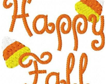 Happy Fall Machine Embroidery .
