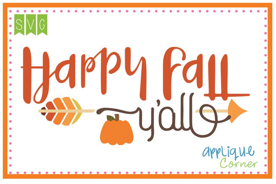 Happy Fall Yu0026#39;all Cuttable SVG Clipart