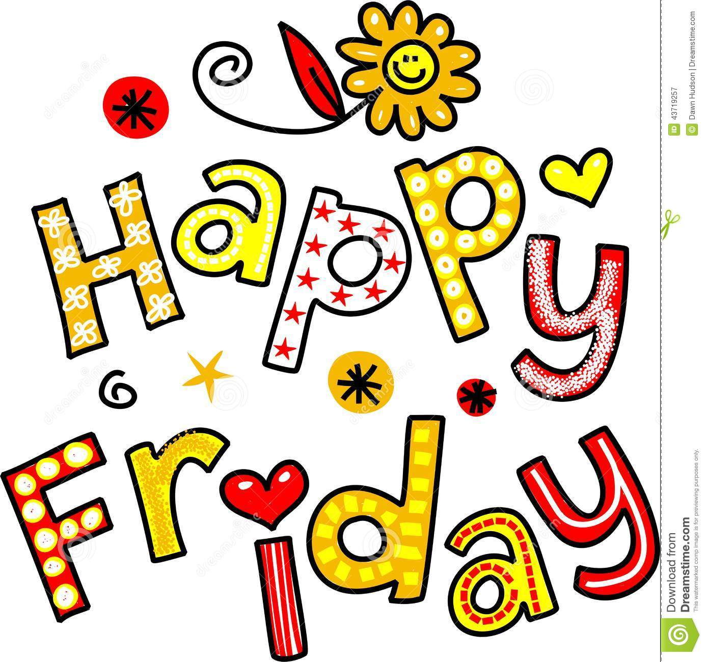 Happy Friday Cartoon Text Clipart Stock Illustration Image 43719257