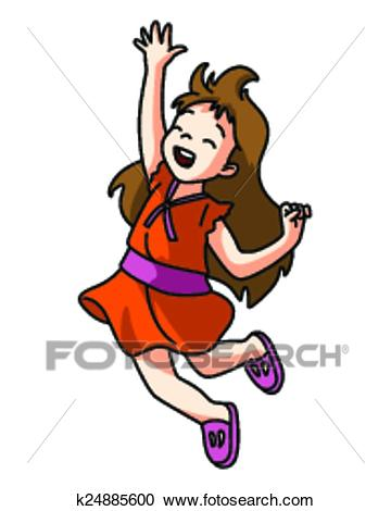 Clipart - Happy Girl Jump. Fotosearch - Search Clip Art, Illustration  Murals, Drawings