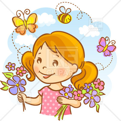 Happy girl holding flowers on sky background with flying bees and  butterflies, 29905, ClipartLook.com