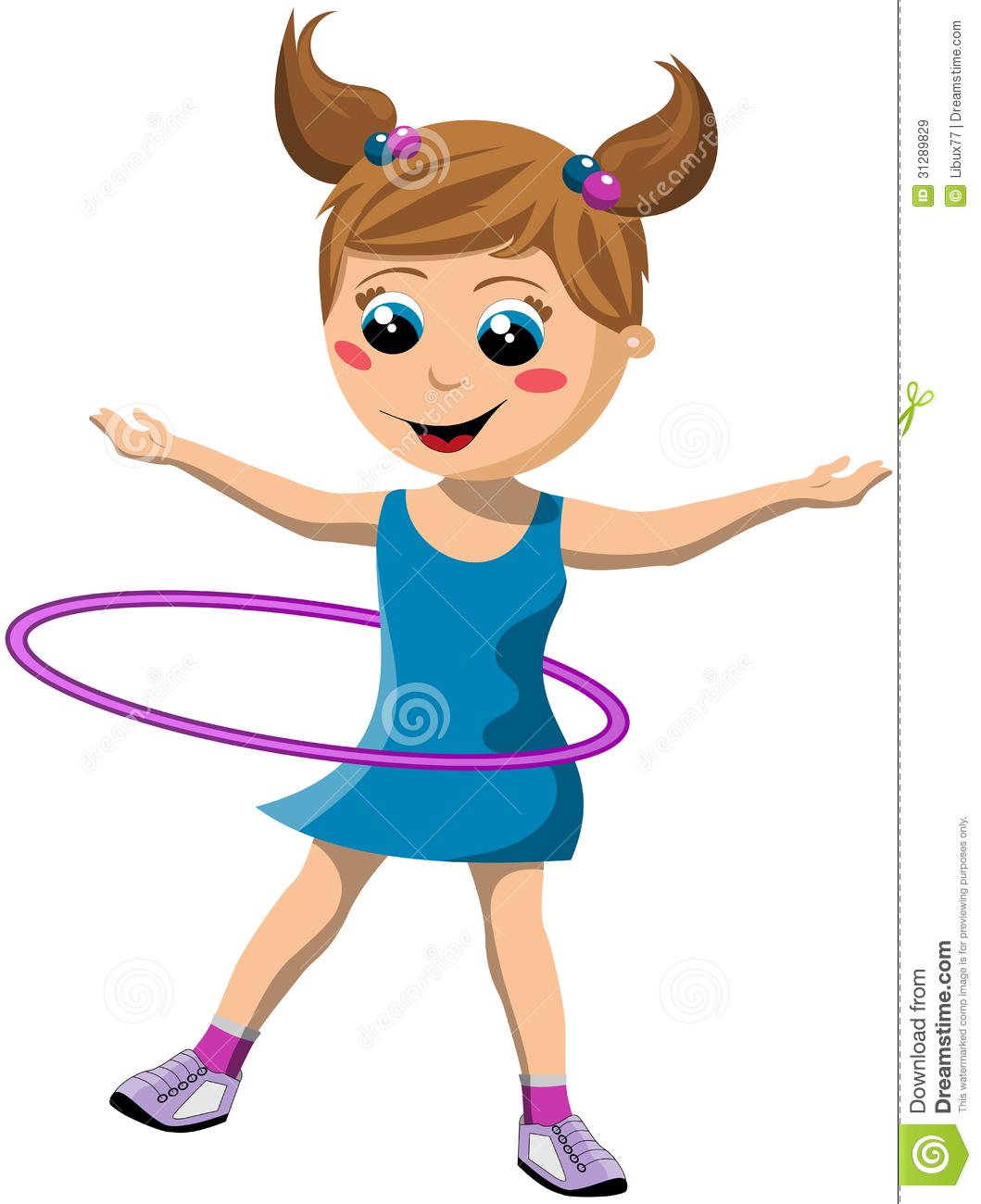 Happy Girl Twirling Hula Hoop
