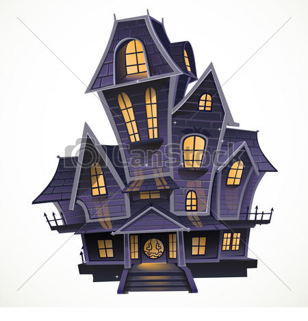 ... Happy Halloween cozy haunted house isolatd on a white.