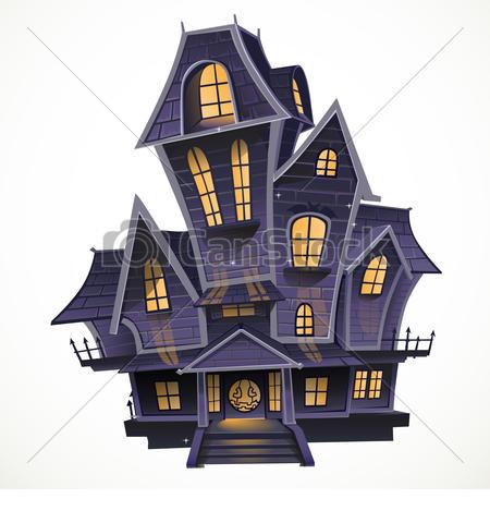 ... Happy Halloween cozy haunted house i-... Happy Halloween cozy haunted house isolatd on a white.-8