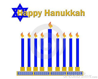 Happy hanukkah and menorrah clipart on white background.