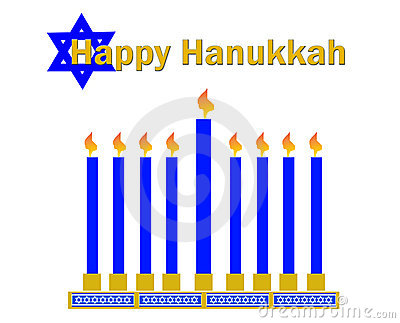 Happy hanukkah and menorrah clipart on white background.