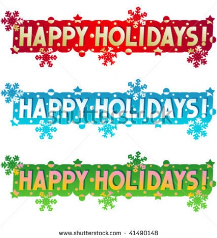 Happy Holidays Clip Art Banner .