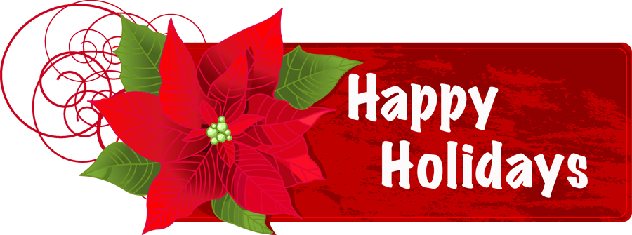 Happy Holidays Flower Banner Png