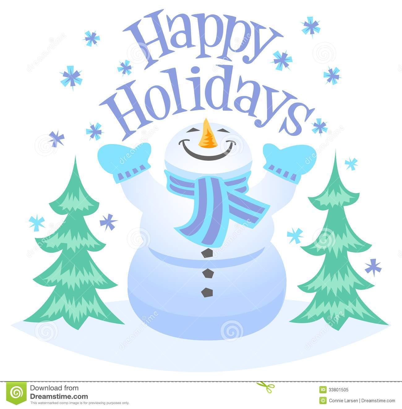 Happy Holidays Snowman Clipart .