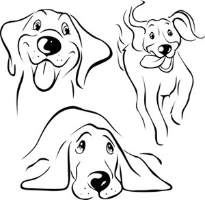 Happy Hound Dog Line Art Illustration, Clip Art
