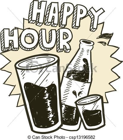 ... Happy Hour Alcohol Sketch - Doodle S-... Happy hour alcohol sketch - Doodle style happy hour alcohol.-4