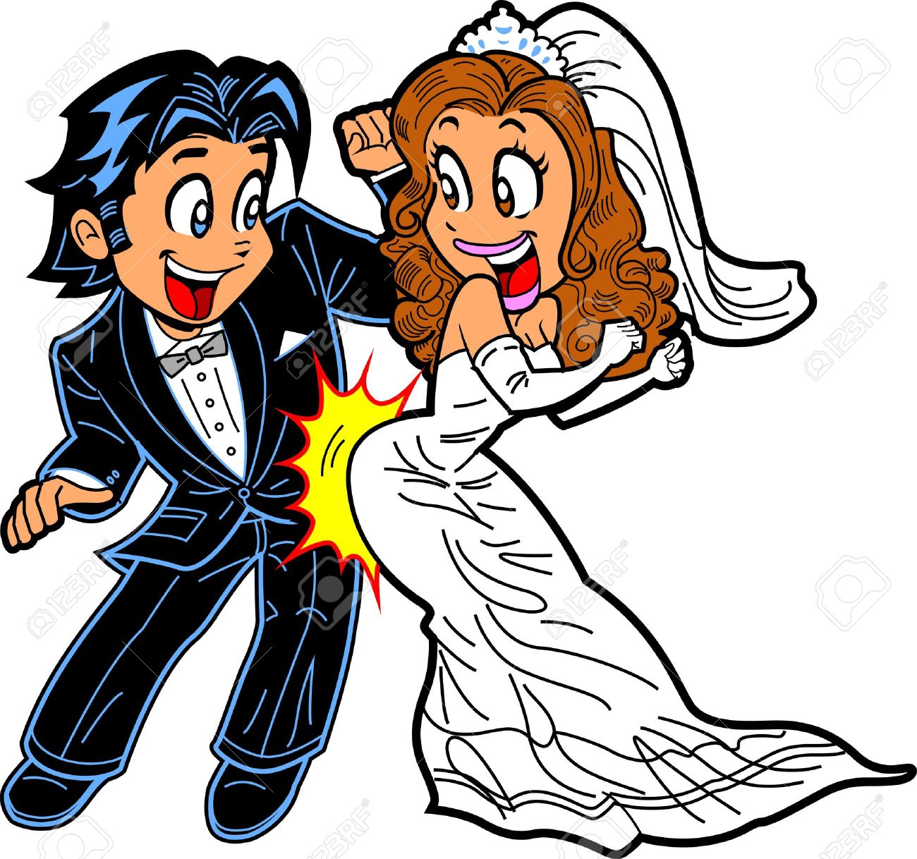 Happy Just Married Couple Doing the Wedding Dance Stock Vector - 20686094