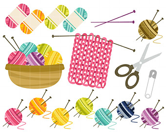 Happy Knitting Digital Clip Art for Scrapbooking Card Making Cupcake Toppers Paper Crafts