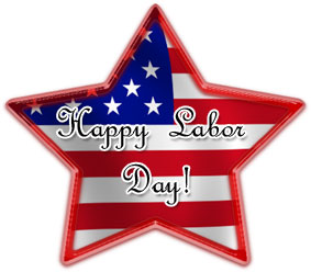 Happy labor day on a red white and blue star