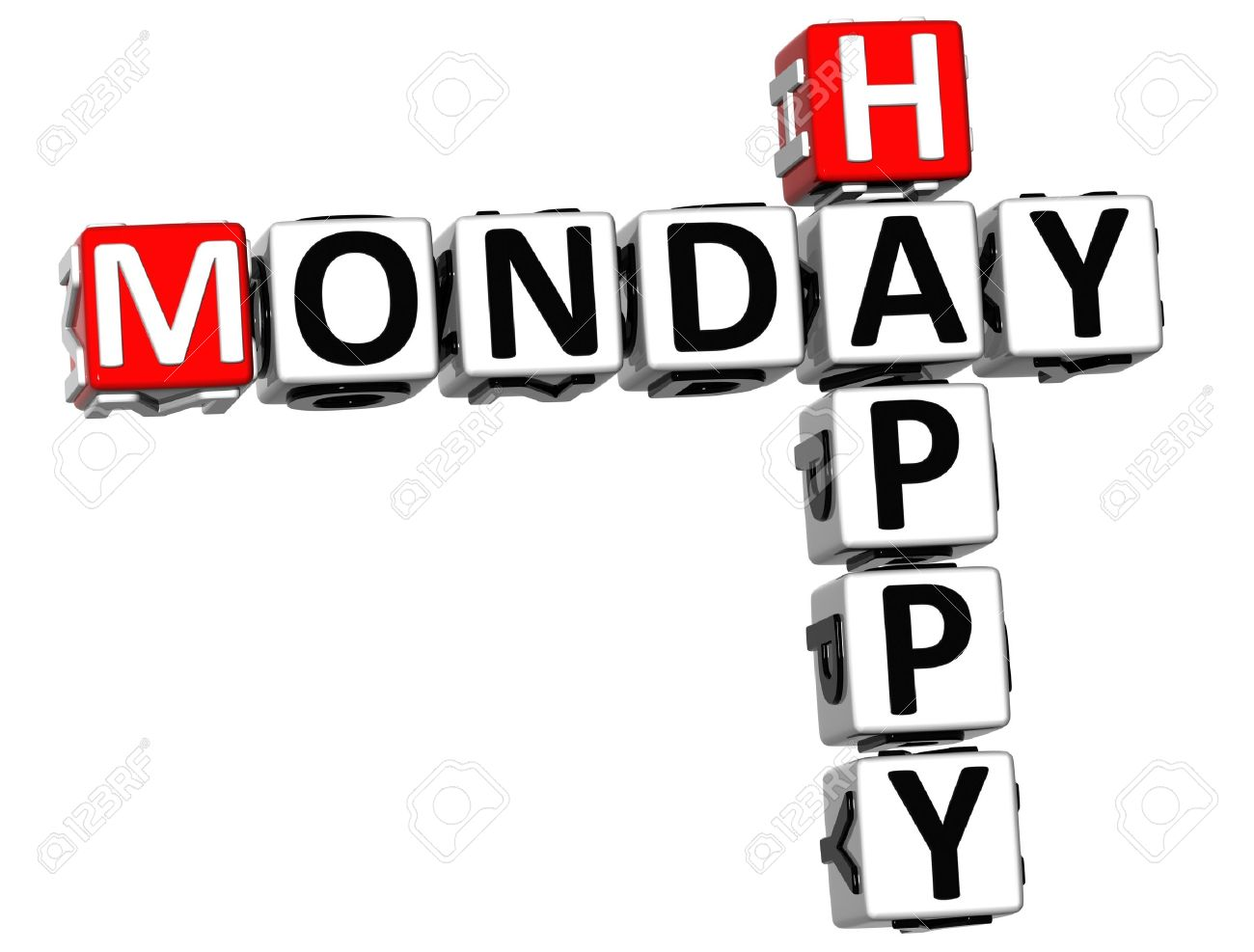 happy monday: 3D Happy Monday Crossword on white background
