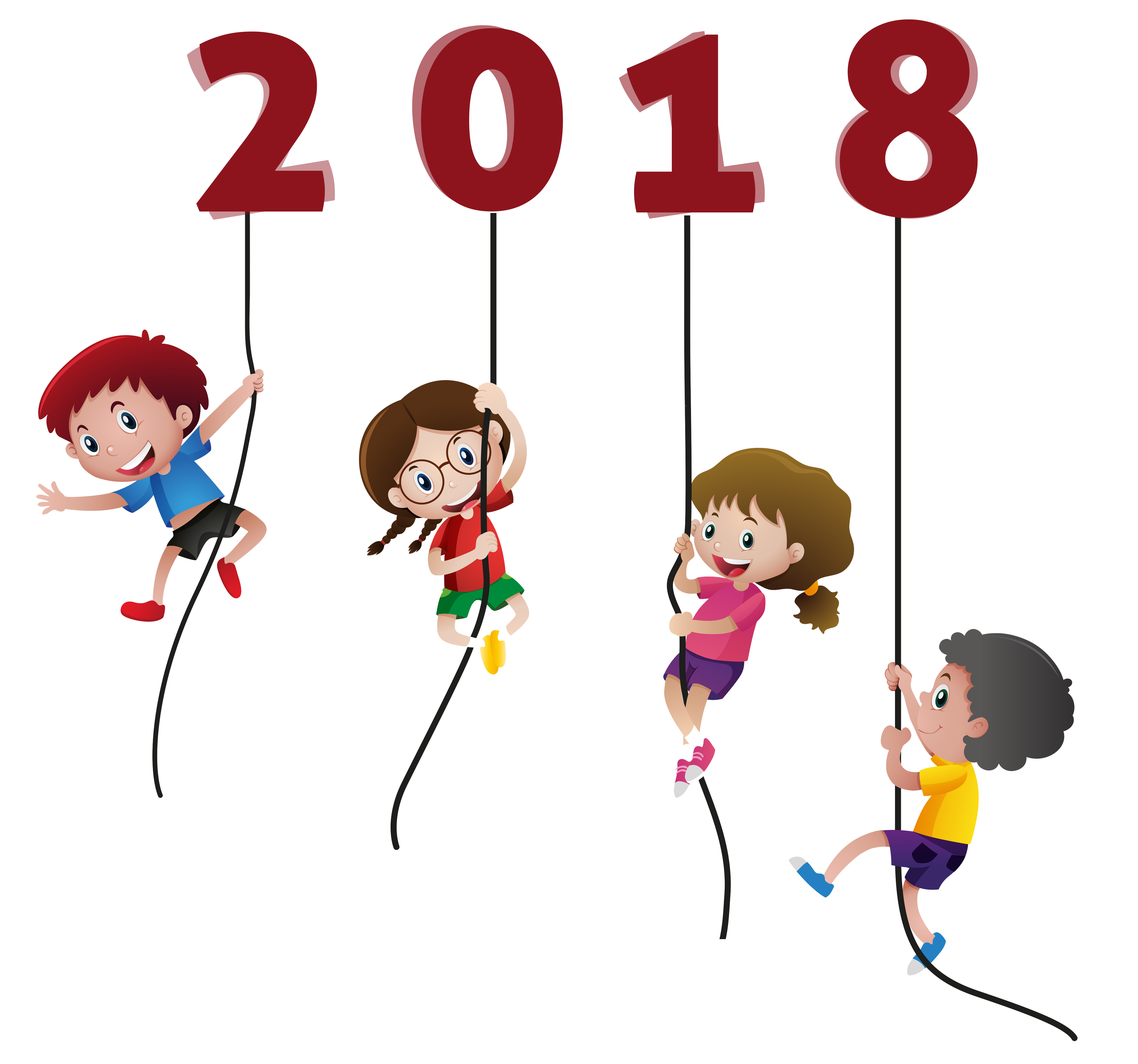 Happy New Year 2018 Kids Funny without background