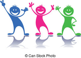 Happy people,children - Cartoon colorful happy.