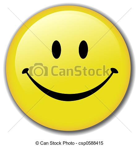 Happy Smiley Face Button Badge - A Happy Smiley Face Button,.
