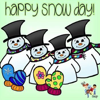 Happy Snow Day Clip art. Color   black line.