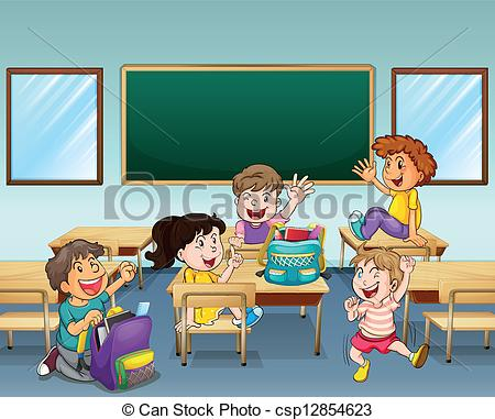 ... Happy students inside a classroom - Illustration of happy.