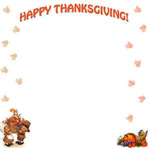 Happy Thanksgiving with cornucopia border