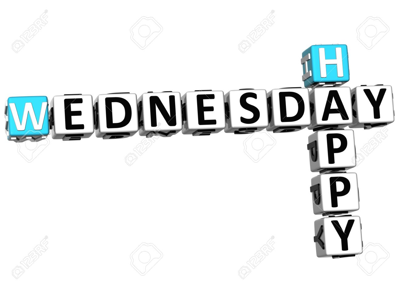 happy wednesday: 3D Happy Wednesday Crossword on white background
