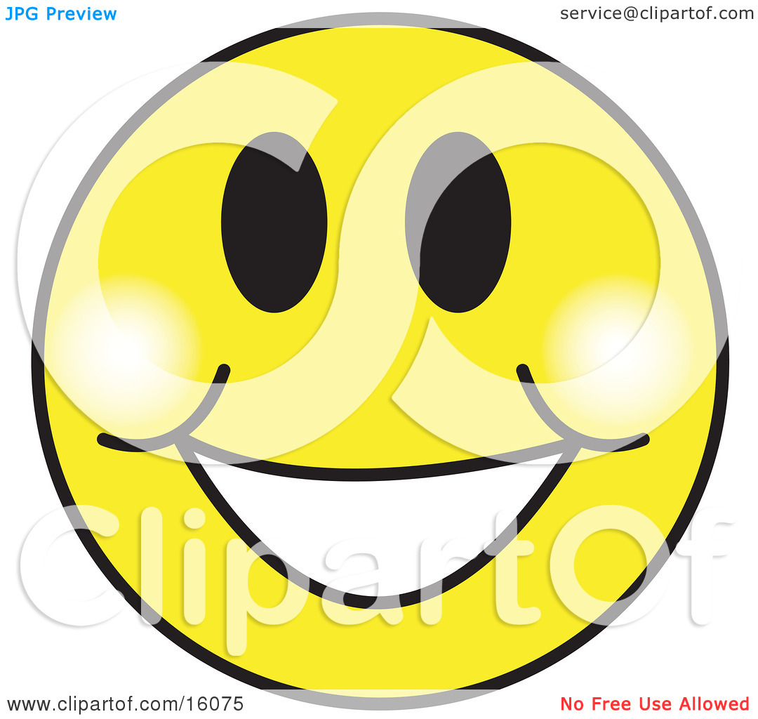 Happy Yellow Smiley Face Graphic With A -Happy Yellow Smiley Face Graphic With A Big Smile Clipart Illustration by Andy Nortnik-14