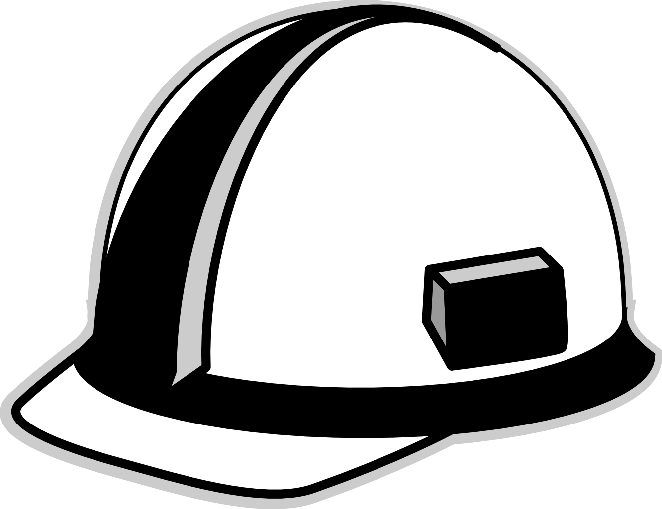 Hard Hat Black White Line Art Scalable Vector Graphics SVG