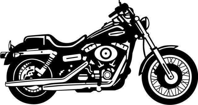 Harley davidson motorcycle clipart black and white