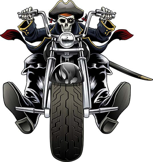 Pirate, Biker, motorcycle, chopper, Harley Davidson, Halloween, skull,  skeleton, clip art from GaryKromanArt on Etsy Studio