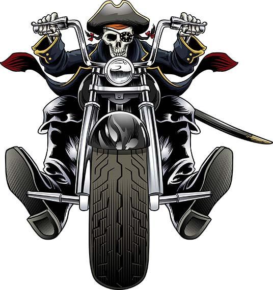 Pirate, Biker, Motorcycle, Chopper, Harl-Pirate, Biker, motorcycle, chopper, Harley Davidson, Halloween, skull,  skeleton, clip art from GaryKromanArt on Etsy Studio-16