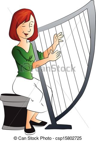 Vector Of Woman Playing Harp.
