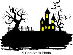 ... haunted house at halloween - vector illustration of a... ...