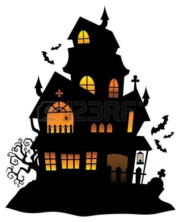 haunted house silhouette: .