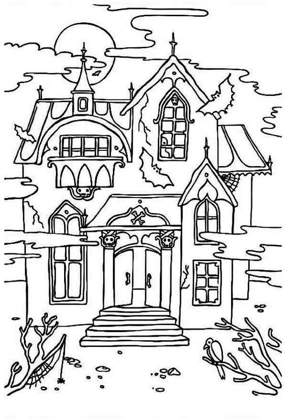 Haunted House with Sound of Crow Coloring Page: Haunted House with .