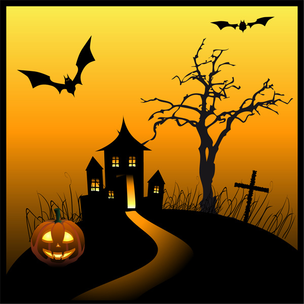 Haunted House Clip Art Black