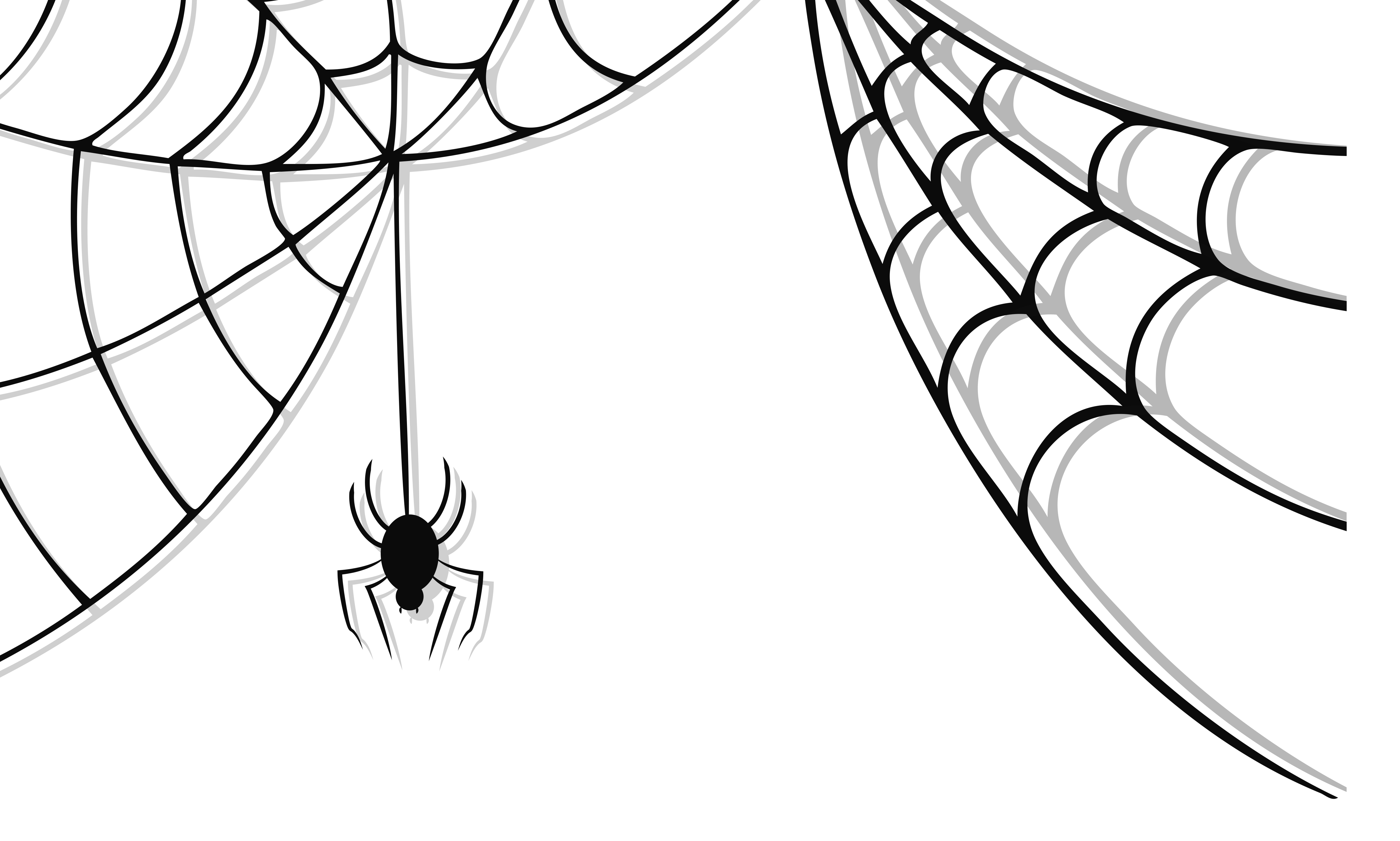 Haunted Spider and Web Clipart