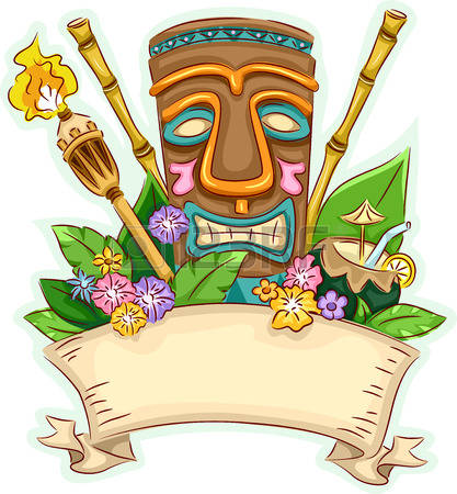 hawaiian: Banner Illustration Featuring a Tiki Surrounded by Hawaii-Related Items Illustration