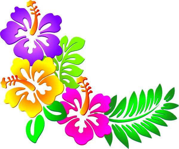 Hawaiian Clip Art Borders | Hibiscus Corner clip art