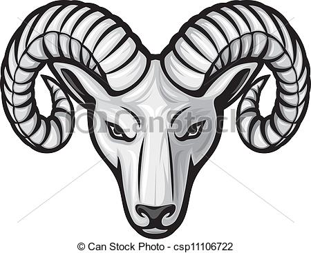 Ram Head Team Mascot Color .