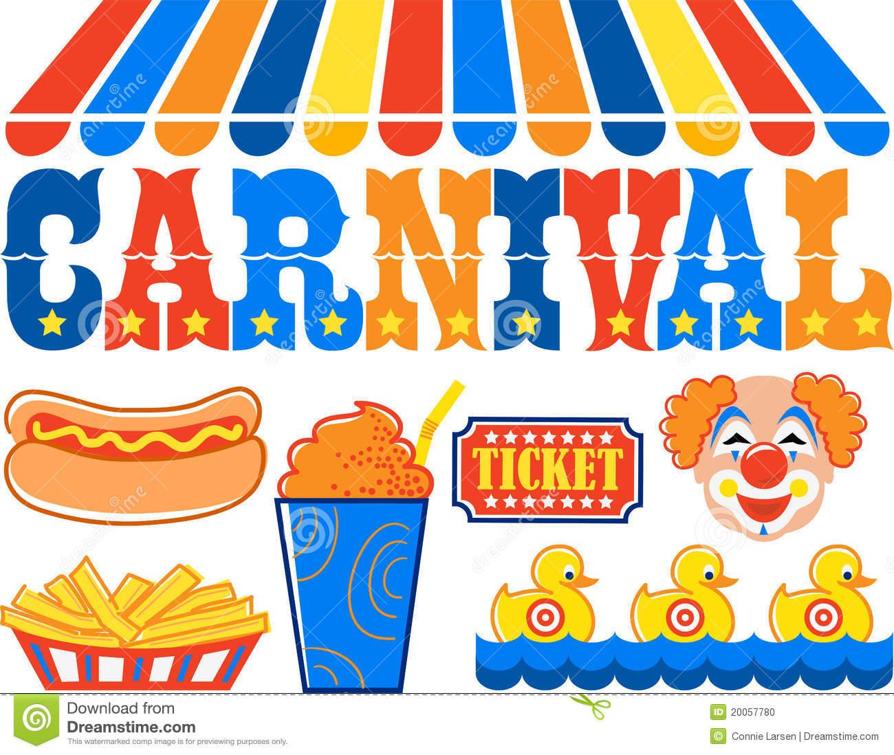 Headline Illustration Of The Word Carnival With Hot Dog Fries Slushy