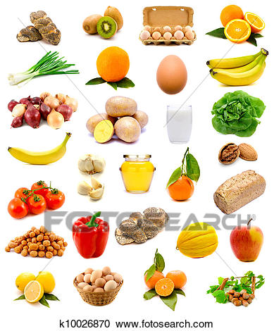 Group Of Healthy Food With Fruits, Veget-Group of healthy food with fruits, vegetables, milk, bread and eggs  isolated on a white background-9