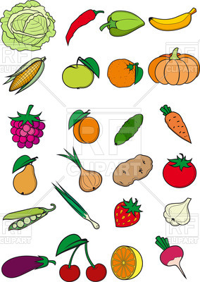 Healthy food - vegetables, fruits and berries in cartoon style, 37659,  download royalty ClipartLook.com