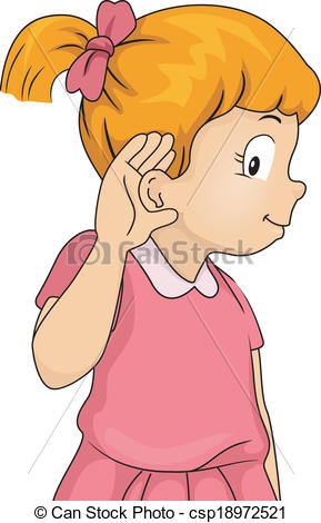 Hear Clipart ... Listening Girl - Illustration of a Little Girl with Her Hand
