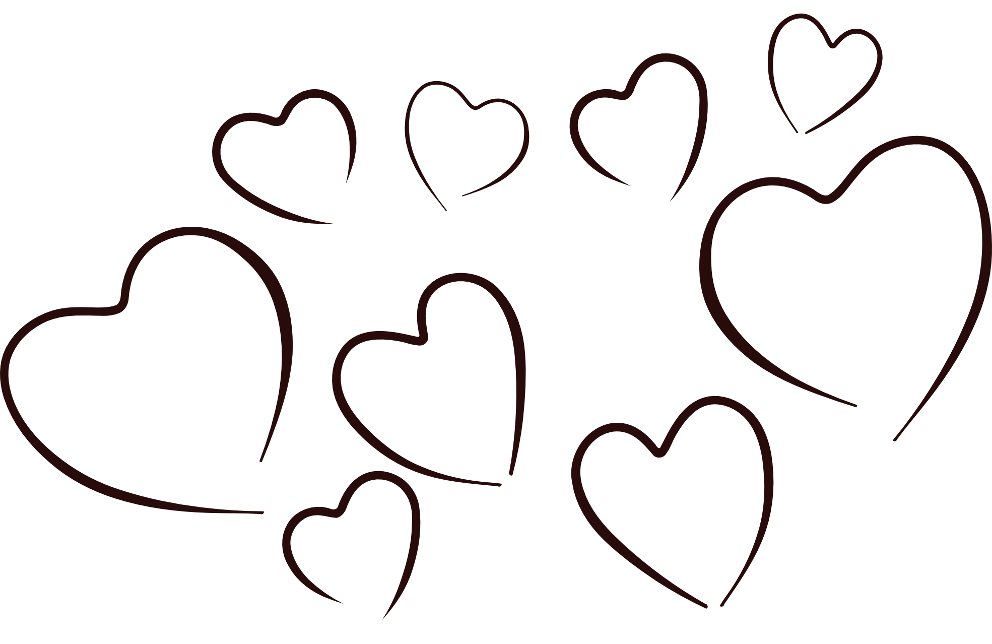Heart black and white row of  - White Heart Clipart