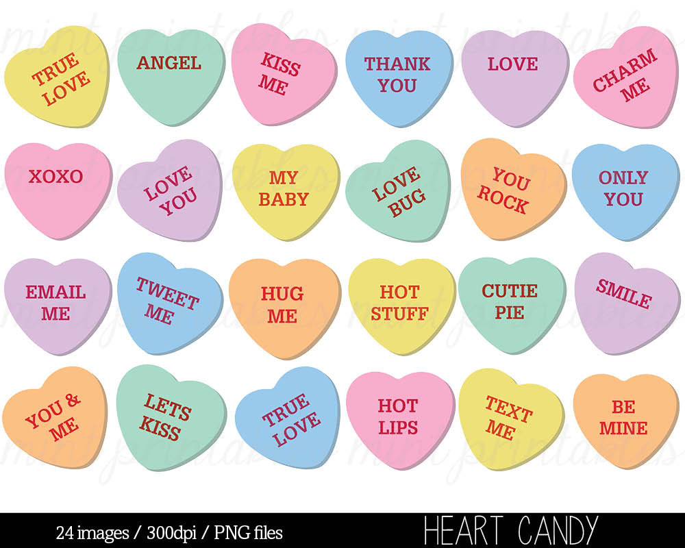 Heart Clipart, Heart Candy Clip Art, Swe-Heart Clipart, Heart Candy Clip Art, Sweethearts Candy Clipart, Conversation Hearts Clipart - Commercial u0026amp; Personal - BUY 2 GET 1 FREE!-10