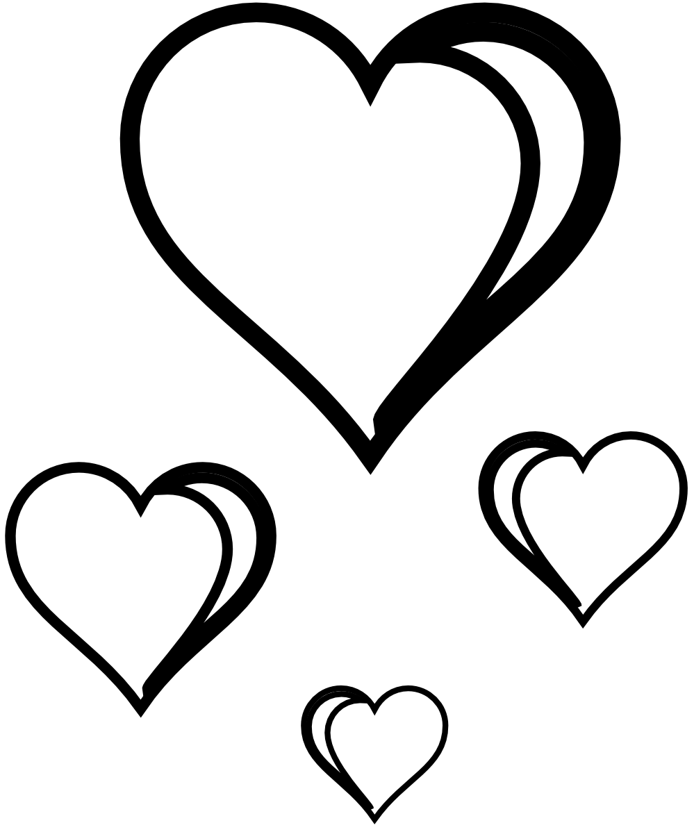 Heart Cluster Sheet Page Black White Lin-Heart Cluster Sheet Page Black White Line Art Valentine Xochi.info-14
