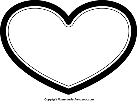 Heart Outline Clipart Black .